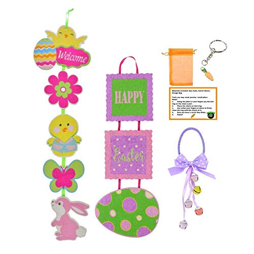 Chick Purple - Multiple Happy Easter Signs for Spring Decoration - Egg-Shaped Pastel Easter Door Hangers with Bells, Easter Tile Wall Décor, Easter Hanging Wall Décor & GG DIY Carrot Key Chain (Purple Chick)