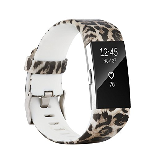 Leopard Wristband (Baaletc Replacement Accessory Band/ Interchangeable Wristband Bracelet Strap with Metal Watch Clasp for Fitbit Charge 2 Fitness Tracker (Leopard Print, Small Size))