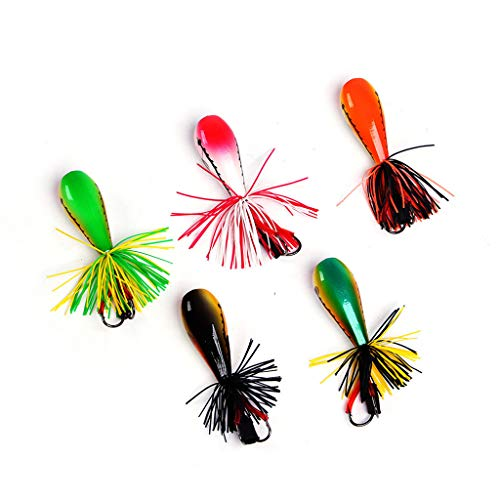 Ganenn 3D Eyes Colorful Tassel Attraction Jumping Frog Topwater Fishing Lures Kit FishBait Double Strong Hook Jump 90mm (B)