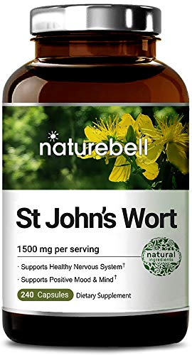 (NatureBell St John's Wort 1500 mg, 240 Capsules, Powerfully Supports Positive Mood & Mind, Promotes Healthy Nervous System, No GMOs, No Preservatives, Third Party Lab Tested, Made in USA)
