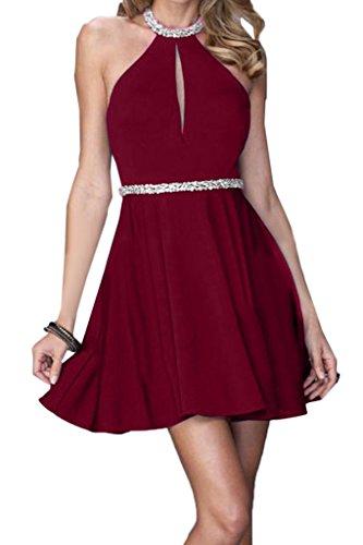 Weinrot Linie Damen A Promkleid Partykleid Mini Neckholder Ivydressing Festkleid Abendkleid Rueckenfrei Chiffon nPqIdP