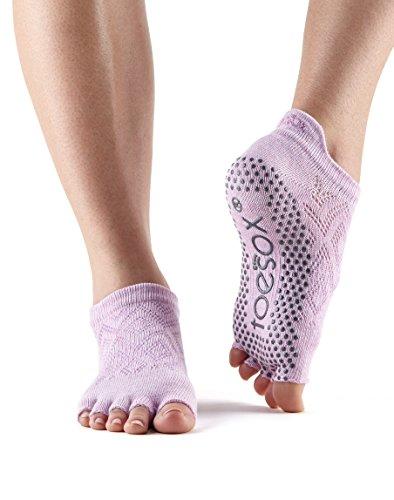 Toesox Women's Grip Half Toe Low Rise (Diamond Freesia) Medium from toesox
