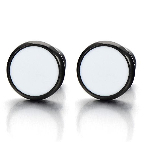 6MM Black White Screw Stud Earrings, Cheater Fake Ear Plugs Gauges Illusion Tunnel for Mens Womens