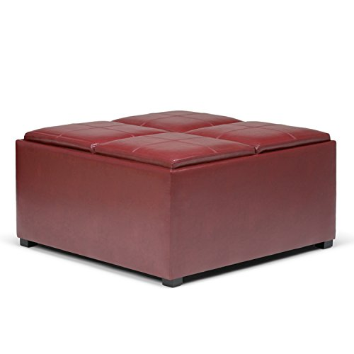 Simpli Home Avalon Coffee Table Storage Ottoman with 4 Serving Trays, Radicchio (Square Coffee Table With Storage)