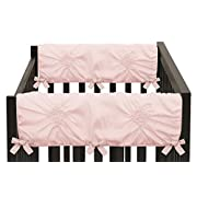 Solid Color Blush Pink Shabby Chic Side Crib Rail Guards Baby Teething Cover Protector Wrap for Harper Collection by Sweet Jojo Designs - Set of 2
