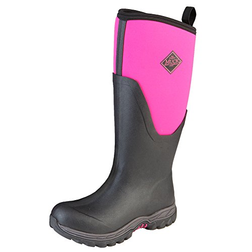 Muck Boot Women's Arctic Sport II Tall Snow Boot, Black/Pink, 8 M (Pink And White Cowboy Boots)