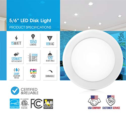 """Parmida (24 Pack) 5/6"""" Dimmable LED Disk Light Flush Mount Recessed Retrofit Ceiling Lights, 15W (120W Replacement), 3000K (Soft White), Energy Star, Installs into Junction Box Or Recessed Can, 1050lm by Parmida LED Technologies (Image #1)"""