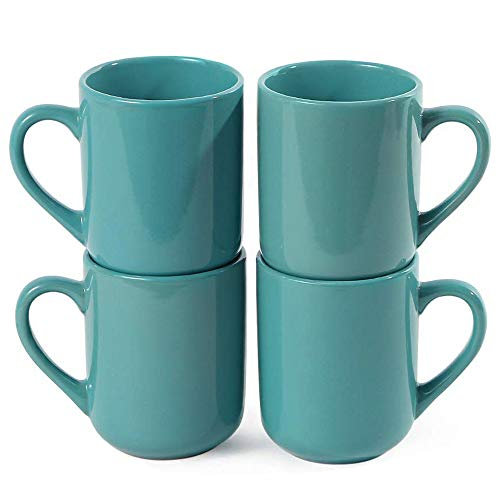 CeramicHome 12oz Porcelain Mugs,Coffee Mug (set of 4), Stoneware Teal Mug,Drinking Cups (Teal ()