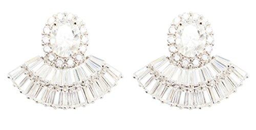 Crystal Fan Shape (KristLand - White Gold Color Brass Full Cubic Zircon Fan Shape Stud Exquisite Wedding Party Earrings Dangler Clear)