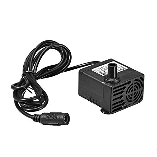 (uxcell 132 GPH (500L/H, 5W, 12-24V) Submersible Water Pump DC Plug for Pond, Fish Tank Fountain Water Pump Hydroponics with 4.9ft (1.5M) Power Cord)