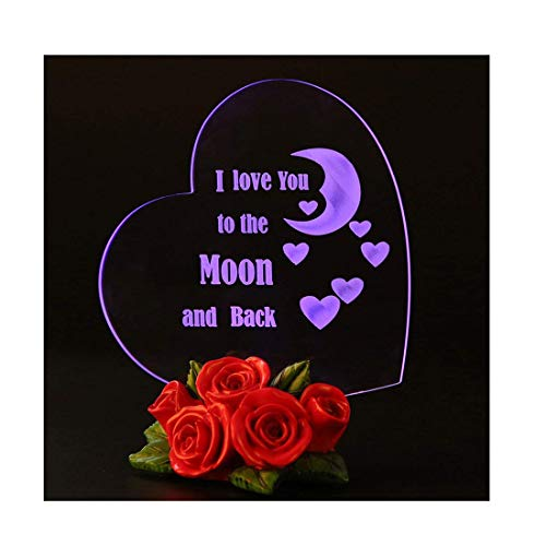- Giftgarden Mom I Love You to The Moon and Back Heart Shaped Cake Toppers LED Wedding Gift, Mother Gift, Grandma Gift, Friends Gifts
