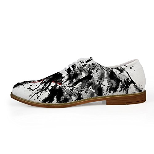 Hugs Idea Skull Pattern Mens Casual Oxford Lace Up Shoes Skull 9