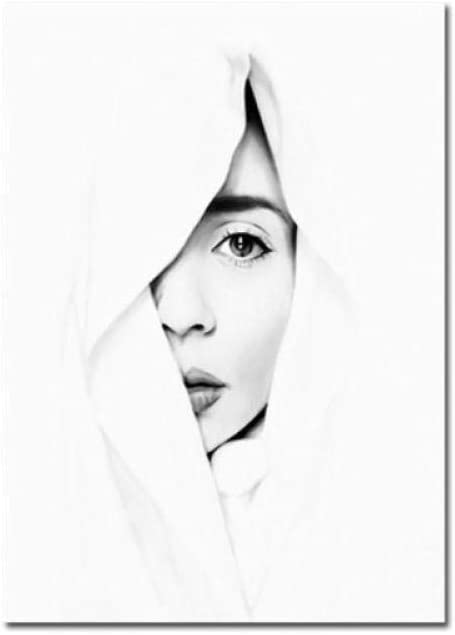 WSHIYI Rostro de Mujer Abstracta en Blanco y Negro Arte contratado Carteles de Estilo Moderno nórdico Cuadros de Lienzo para decoración de Sala de Estar Pintura-50x70cm sin Marco
