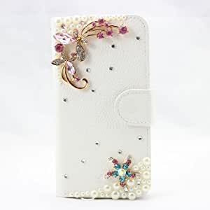 piaopiao fashion 3d bling leather wallet card flip Case Cover Skin For LG G2 Mini D620 D620R D620K (2butterfly pink)