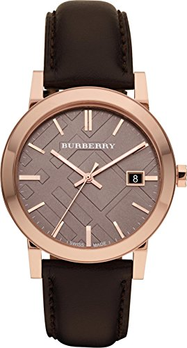 Burberry LUXURY RARE Rose Gold Watch Womens Unisex Men The City Brown Authentic Leather Beige Dial Date BU9013