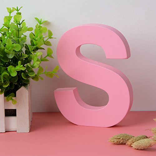 Decorative Wood Letters S Hanging Wall 26 Letters Wooden Alphabet Wall Letter for Children Baby Name Girls Bedroom Wedding Brithday Party Home Decor-Letters