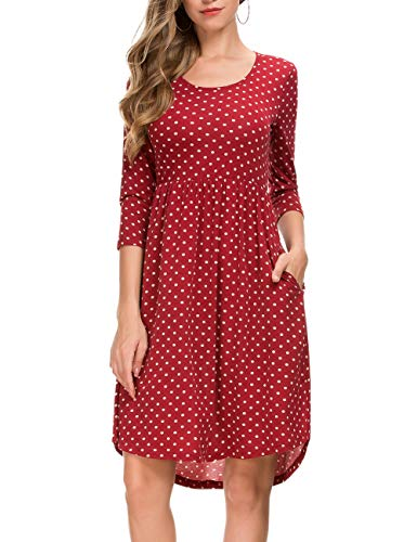 Women's 3/4 Sleeve Dot Vintage Pleated A Line Casual Dress 801 (M, Red)