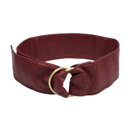 Ladies Garment Ornament 2 Ring Buckle Faux Leather Waist Belt Cinch Red