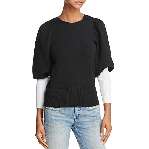 - Parker Womens Risa Ribbed Puff Sleeve Pullover Sweater B/W XS Black