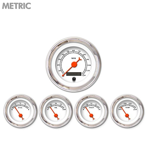Orange Classic Needles, Chrome Trim Rings, Style Kit DIY Install Aurora Instruments 6522 American Classic White Metric 5-Gauge Set