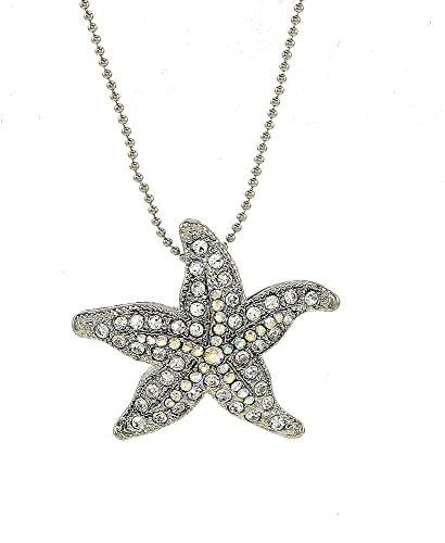 (Starfish Pendant Necklace Silver Tone iridescent Crystal Pendant 16