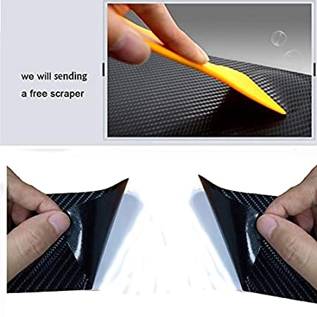 4Pcs//Set Carbon Fiber Vinyl Sticker Car Door Sill Protector Scuff Plate for Honda Mugen Power Civic Accord Fit CRV Hrv Color Name: As Picture