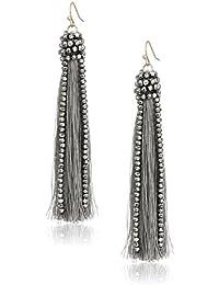 Hematite Grey Tassel Drop Earrings