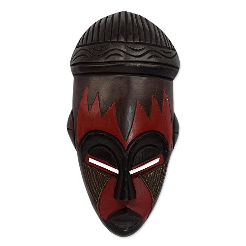 (NOVICA Nigerian Red and Black Handcrafted African Rubberwood Mask with Brass Accents, Harvest)