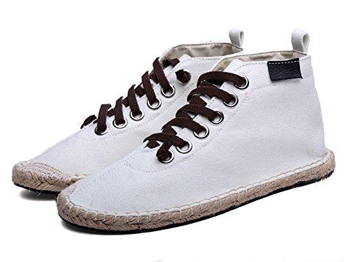 Geruite & Effen Unisex Heren Dames Lace-up Hoge Top Canvas Espadrilles Sneaker Wit