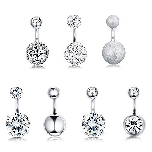 FUNRUN JEWELRY 7PCS 14G 6MM 1/4 Inch 316L Surgical Steel Belly Button Rings Belly Earring CZ Navel Rings Barbell Body Piercing Jewelry (A:Silver Tone)