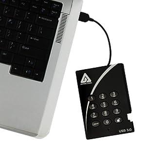 Apricorn Aegis Padlock 500 GB USB 3.0 256-bit AES XTS Hardware Encrypted Portable External Hard Drive (A25-3PL256-500)