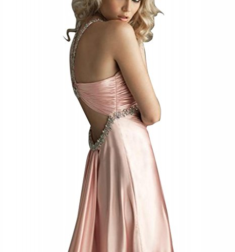 Mantel Perlen mit Applikationen Spalte Abendkleid bodenlangen Halfter Rosa BRIDE GEORGE Cw76qxRAfA
