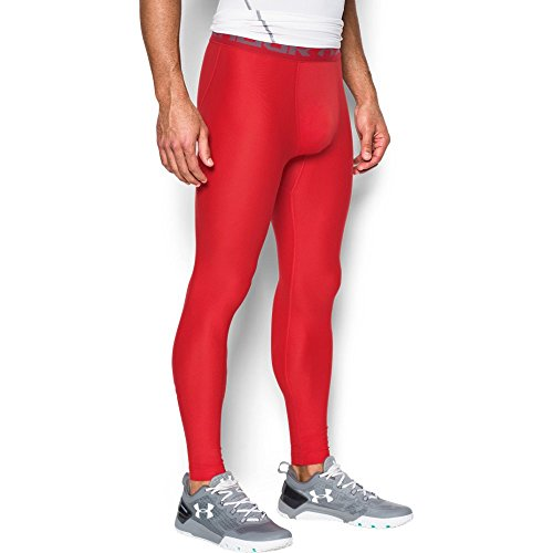 Under Armour Men's HeatGear Armour Compression Leggings, Red/Graphite, Large