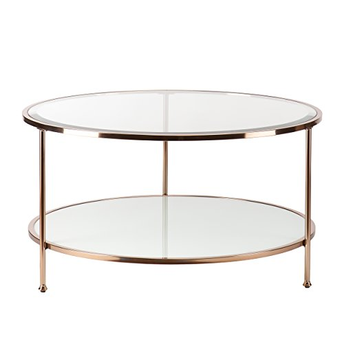 Southern Enterprises AMZ0340KC Risa Cocktail Table, Metallic Gold/White