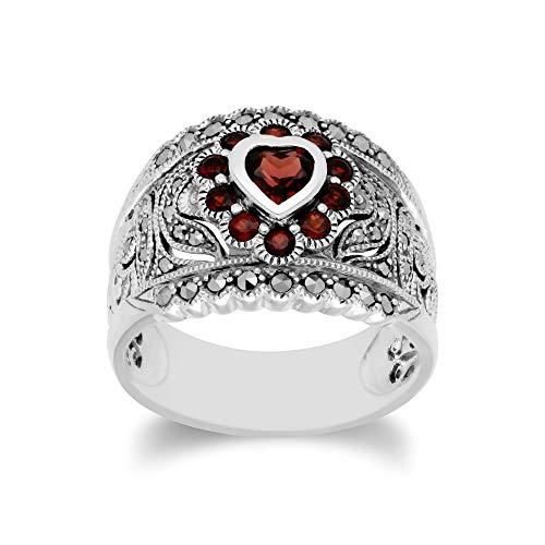 Gemondo USA 925 Sterling Silver Marcasite & Garnet Art Nouveau Ring (10)