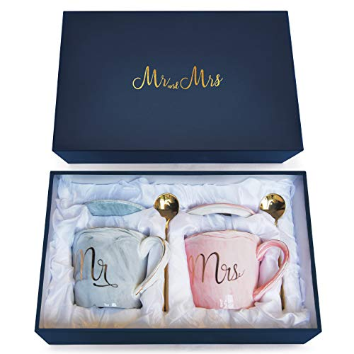 Wedding Gift - Mr and Mrs Mug Set - Classy and Elegant Gift Box with 2 Marble/Gold Tea or Coffee Cups - Beautiful Couples Anniversary, Engagement or Wedding Present (Complete Set Grey & Pink)