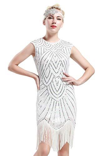 Vintage 20 Bal Soirée Robe Pour Magnifique Babeyond Blanc Gatsby Flapper Femme Cocktail Paillettes Charleston Le Années De clJFTK1