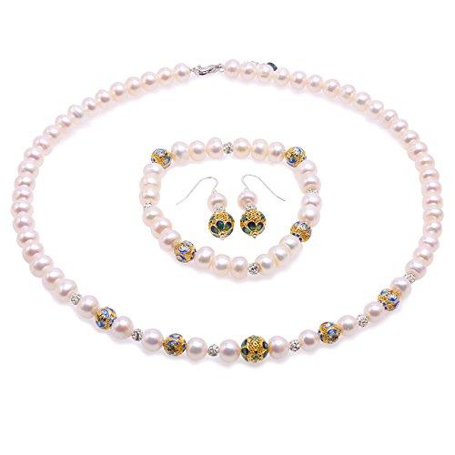 85309c81350d JYX Collar de perlas 7 – 8 mm blanco perla cultivada de agua dulce collar  pulsera