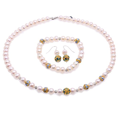 JYX Pearl Necklace Set 7-8mm White Freshwater Cultured Pearl Necklace Bracelet and Earrings Jewelry Set with Cloisonne Beads ()