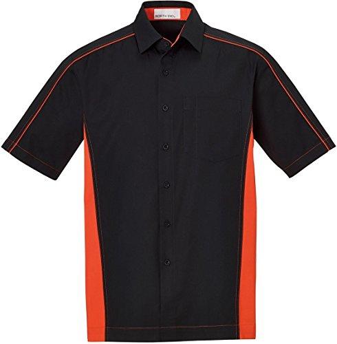 (North End Mens Fuse Color-Block Twill Shirts (87042) -BLACK/ ORNGE -L)
