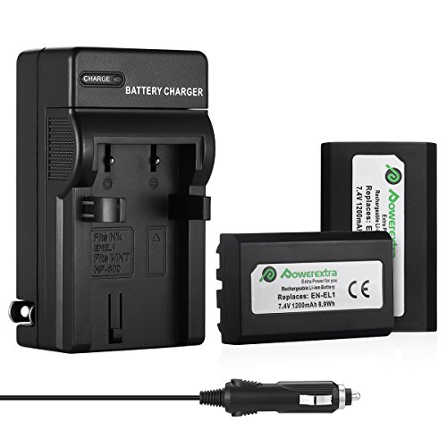 Powerextra 2x Replacement Li-ion battery With Charger For Nikon EN-EL1 Minota NP-800 Nikon Cooipix 4300 4500 4800 5400 5700 775 8700 880 885 995 Coolpix E880 and Konica Minota DG-5W Dimage A200 Camera ()
