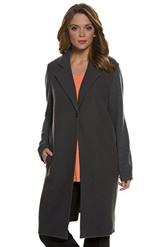 Ulla Popken Women's Plus Size Boiled Wool One Button Coat Black 20/22 708717 10 - Boiled Wool Coat
