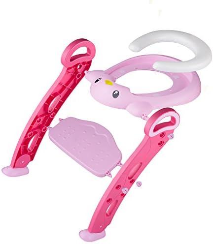 Asiento de Inodoro para Bebé Niño Plegable con Escalera Antideslizante Dibujos Animales Rosa: Amazon.es: Bebé