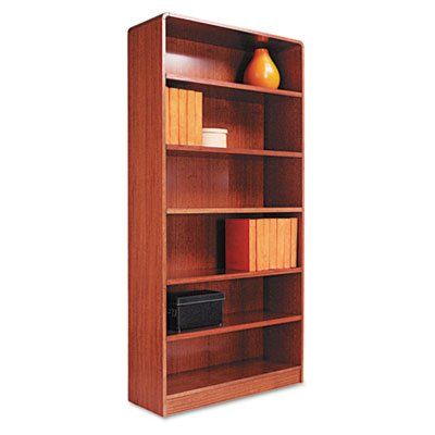 Alera Radius Corner Bookcase, Finished Back, Wood Veneer, 6-Shelf, 36 W by 12 D by 72 H, Medium Oak Review