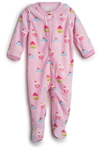 Elowel Baby Girls Footed Cupcake Pajama Sleeper Fleece 2 Toddler