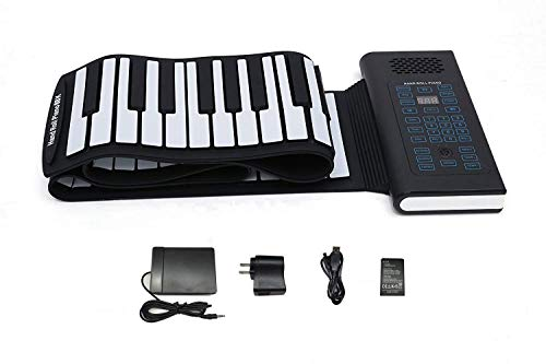 KMUSIC Roll Up Piano, Premium Grade Silicone, THICKENED KEYS, and Upgraded Built-in Amplifying Speakers - Educational Piano (A61-61 Keys, Black)