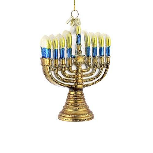 Noble Gems Gold Jewish Menorah Glass Holiday Hanukkah Ornament (Jewish Ornament)