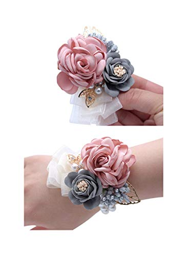 Flonding Rose Wedding Wrist Corsage and Boutonniere Set Party Prom Hand Ribbon Flower Suit Decor (Champagne Pink) ()
