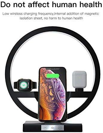 ワイヤレス充電器、高速アップルウォッチ4月3日/ 2/1 / Airpods用ドックステーションを充電のEye-手入れオフィスランプ、0Wチー、iPhoneのX MAX/XR / 8 + /サムスンS10 + S9 + S8 +と互換性を持つ私デスクランプ4インチ,黒