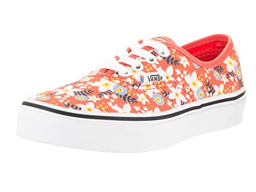 Vans Kids' Authentic Floral Pop Living Coral Canvas Skate Shoe 2.5 Orange